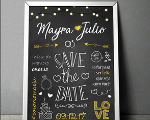 Chalkboard - Save the Date / com moldura