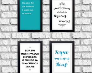 Kit 4 Quadros Decorativos Frases Incentivadoras + Moldura