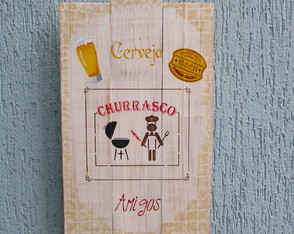 Placa decorativa churrasco
