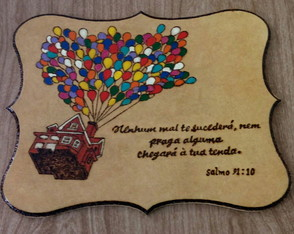 Placa decorativa com frase