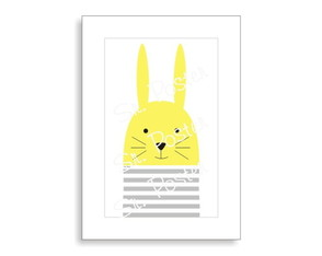 Poster - Stripes Animal - Bunny Color