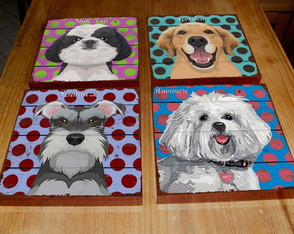 Kit 4 Quadros Tela Pop Art DOGS