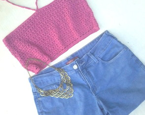 Top cropped crochê