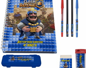 Kit Escolar + 1 Caderno - Clash Royale