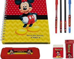 Kit Escolar + 1 Caderno - Mickey