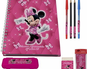Kit Escolar + 1 Caderno - Minnie Rosa