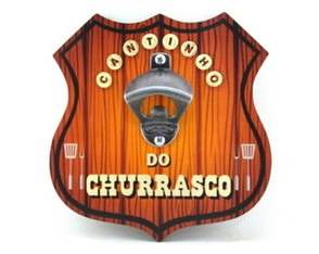 Placa Abridor Escudo Cantinho do Churrasco - ae017