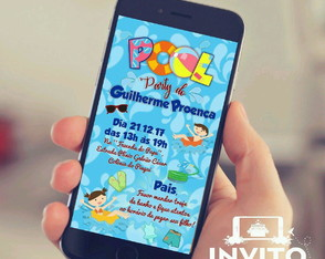 "Convite Digital ""Pool Party"""