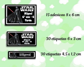 Kit Etiquetas Material Escolar - Star Wars