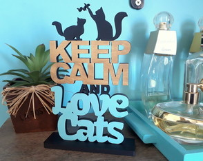Enfeite Keep Calm and Love Cats - Azul