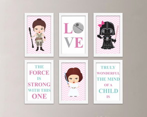 Kit 6 Quadros Frases Star Wars com Moldura