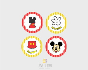 KIT DIGITAL TAG / TOPPERS PERSONALIZADOS - MICKEY