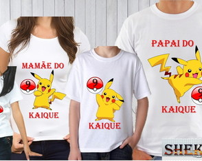 kit Camisetas do pokemon com 4