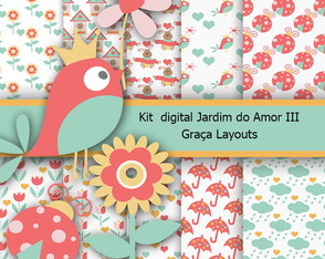 Kit Digital papel jardim do Amor III