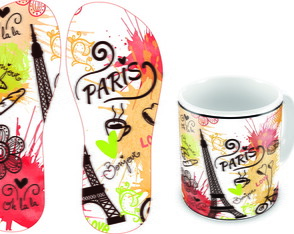 kit Caneca de Porcelana + Chinelo tema Paris!