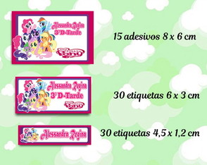 Kit Etiquetas Material Escolar - My Little Pony