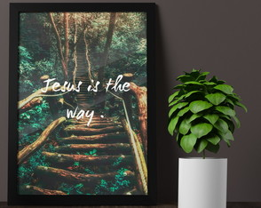 Quadro Poster Moldura E Vidro A3, Cristão, Jesus Is The Way