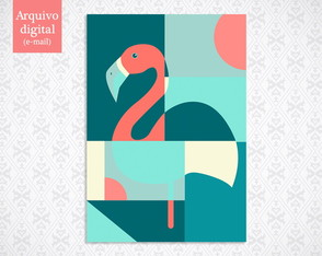 Pôster Digital - Flamingo Abstrato (21x30cm)