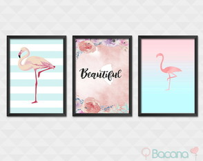 Kit de Quadros com Moldura Flamingo Beautiful