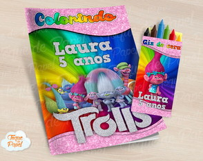 Kit colorir giz sacola Trolls