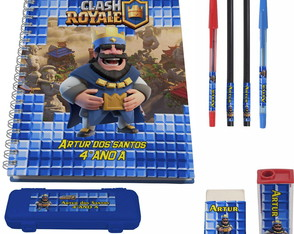 kit escolar 1 Caderno Clash Royale