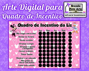Arte Digital Quadro de Incentivo Minnie Rosa