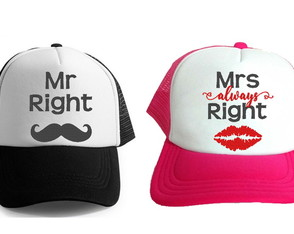 Boné Bordado para Noivos Mr Right e Mrs Always Right 3