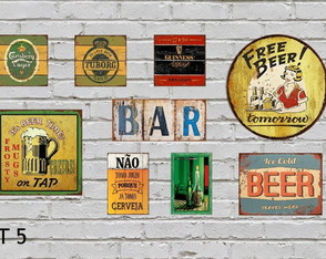 Kit 9 Placas Decorativas Cerveja