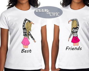2 Camisetas Baby Look Best Friends