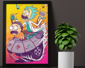 Quadro Poster Moldura E Vidro A3, Rick and Morty Modelo 07