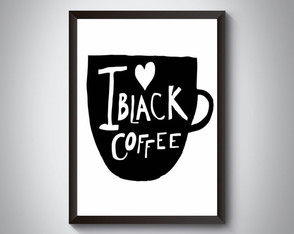 "Quadro moldura MDF ""I Love Black Coffee"""