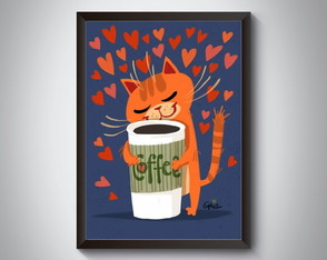 "Quadro moldura MDF ""Cat Love Coffee"""