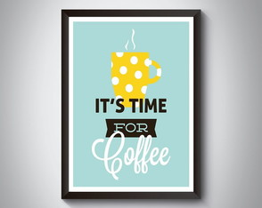 "Quadro moldura MDF ""It's Time For Coffee"""