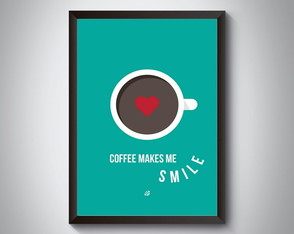 "Quadro moldura MDF ""Coffee Makes Me Smile"""