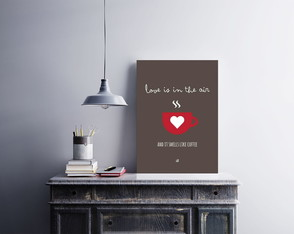"Placa decorativa MDF ""Love Is In The Air...Coffee"""