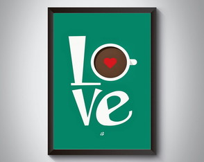 "Quadro moldura MDF ""Love Coffee"""