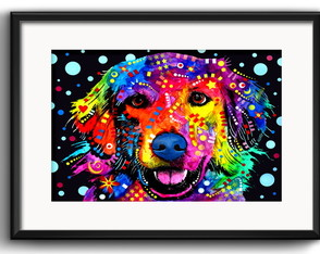 Quadro Golden Retriever Pop Art com Paspatur
