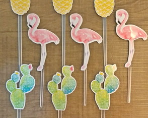 Topper Tropical com Flamingo, Cacto e Abacaxi