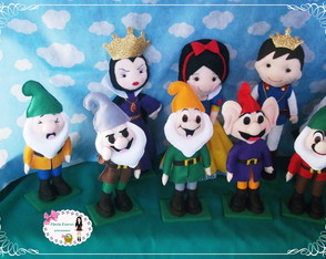 kit branca de neve com 11 personagens de feltro