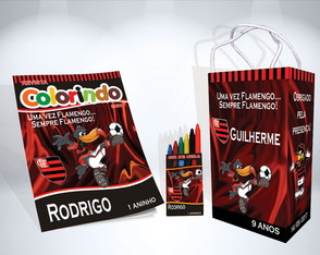Kit de Colorir do Flamengo Revista Sacola Giz Brindes