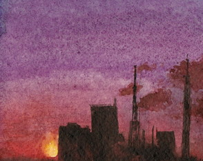 Pôr do sol _ aquarela _ original