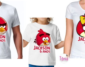 Camisa personalizada Angry Birds Red - Família