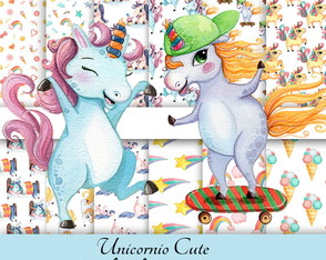 Kit Digital papel Unicornio cute