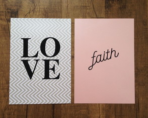 Duplinha Scrap Frases Love Chevron e Faith Rosa Perolado