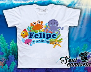 Camiseta Infantil- Fundo do mar _ MOD. 03