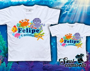 Kit 2 Camisetas- Fundo do mar - MOD. 03
