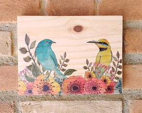 Placa decorativa - Birds
