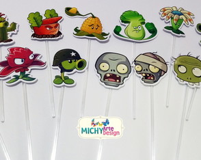 Toppers Corte Especial - Plants vs Zombies