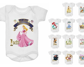 Kit Body Mesversário 12 meses - Princesas Disney