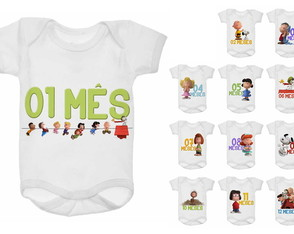 Kit Body Mesversário 12 meses Snoopy Peanuts Charlie Brown